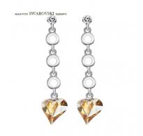 Razkošni uhani s kristali Swarovski elements v obliki srčka