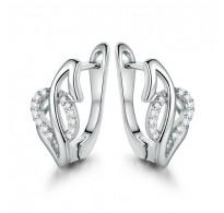 Izjemni uhani, bela pozlata s  kristali CZ