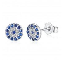 Prečudoviti srebrni uhani s kristali CZ v safir modri barvi