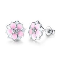 Prikupni srebrni uhani roza barve v obliki rože