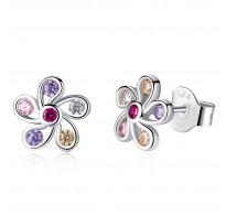 """Čudoviti """"Multicolor"""" srebrni uhani v obliki rože"""