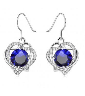 """Uhani """" Blue Heart"""", trendy dizajn  s čarobnimi kristali"""