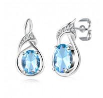 Edinstveni uhani, 18K bela pozlata  z modrim kristalom