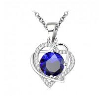 """Obesek z verižico """" Romantic Heart s kristalom v modri barvi"""