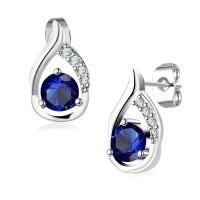 Uhani z modrim kristalom v obliki kapljice