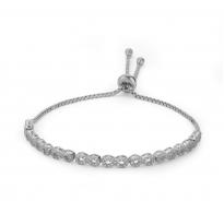 Prefinjena drsna srebrna zapestnica Infinity s kristali CZ