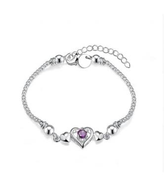 Privlačna srebrna zapestnica z ljubkim kristalom ametist