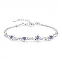 "Zapestnica ""Violet Flower"" s kristali kubični cirkonij"