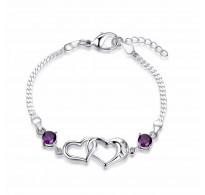 Zapestnica srebrna, vijolični kristali kubični cirkonij v obliki srčkov